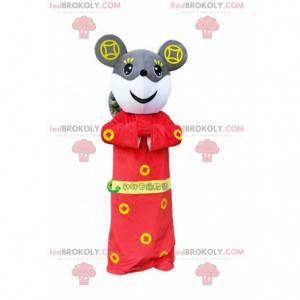 Šedá a bílá myš maskot v červené asijské oblečení -