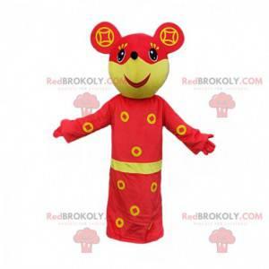 Gelbes und rotes Mausmaskottchen, fröhliches Kostüm -