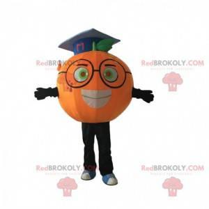 Oranžový maskot s brýlemi a postgraduální klobouk -