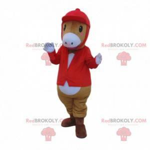 Maskot koně v žokejovém oblečení, žokejský kostým -