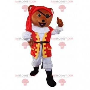 Medvěd maskot oblečený jako pirát, pirát kostým - Redbrokoly.com