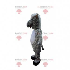 Maskot bílá zebra s černými pruhy, africké zvíře -