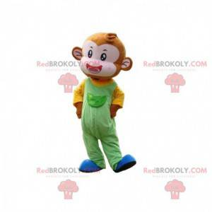 Monkey mascot with a colorful outfit, marmoset costume -