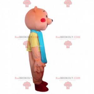 Růžový medvídek maskot s červenými tvářemi - Redbrokoly.com