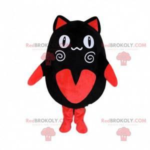 Černá a červená kočka maskot, manga kostým, manga zvíře -