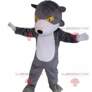Šedý a bílý vlk maskot se žlutýma očima, kostým vlka -