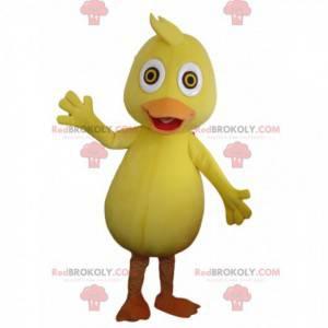 Żółto-pomarańczowa maskotka kaczka, kostium kanarka -