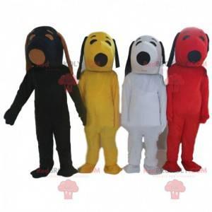 4 Snoopy-Maskottchen in verschiedenen Farben, berühmte Kostüme