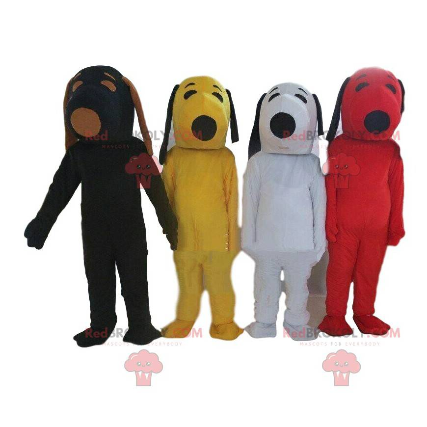 4 Snoopy mascots in different colors, famous costumes -