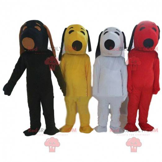 4 mascottes de Snoopy de différentes couleurs, costumes