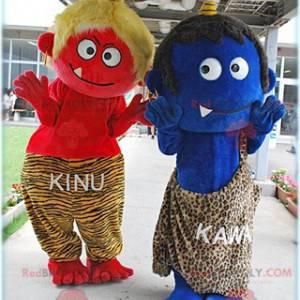 2 Cro-Magnon mascotte di piccoli mostri - Redbrokoly.com