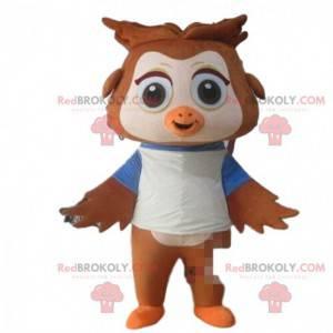 Hnědá a bílá sova maskot s velkýma očima - Redbrokoly.com