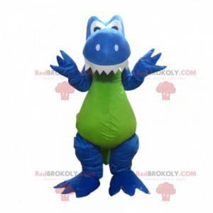 Modrý a zelený maskot dinosaura, kostým dinosaura -