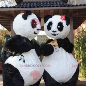 2 black and white panda mascots - Redbrokoly.com