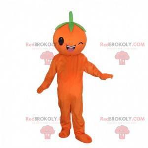 Olbrzymia pomarańczowa maskotka mrugająca, owocowy kostium -