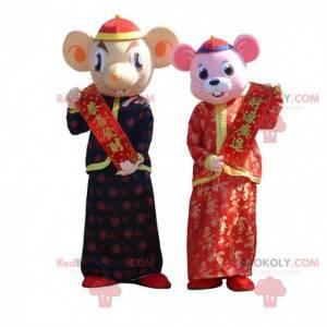 2 maskoti myši v tradičním asijském oblečení - Redbrokoly.com