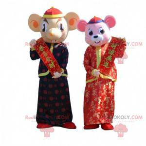 2 mouse mascots in traditional Asian outfits - Redbrokoly.com
