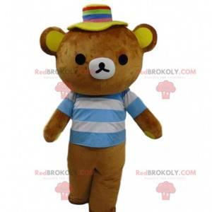 Braunes Teddy-Maskottchen mit gestreiftem T-Shirt -