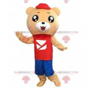 Maskot medvídek v červené a modré oblečení - Redbrokoly.com