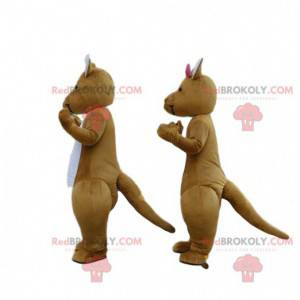 2 maskotki brązowych i białych kangurów, kilka kangurów -