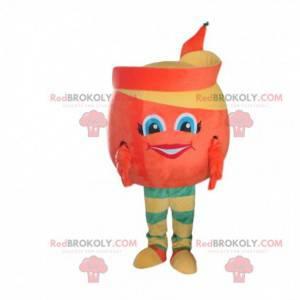 Geschältes Orangenmaskottchen, Orangenfruchtkostüm -