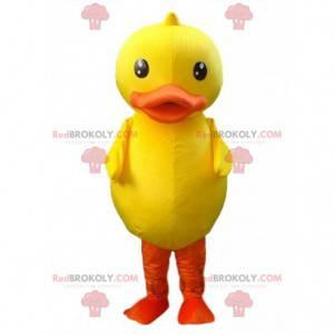 Maskot velký žlutý a oranžový pták, obří kachní kostým -