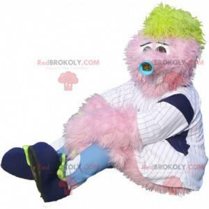Alle harige roze sneeuwpopmascotte - Redbrokoly.com