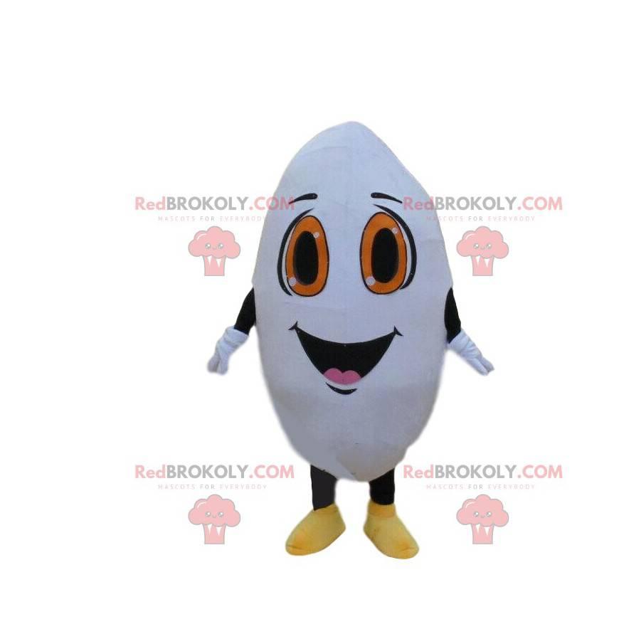 Giant rice grain mascot, white character costume -
