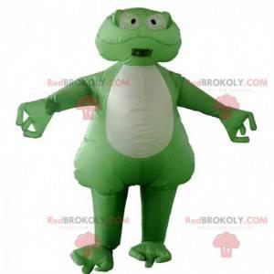 Grønn og hvit froskmaskot, oppblåsbar kostyme - Redbrokoly.com