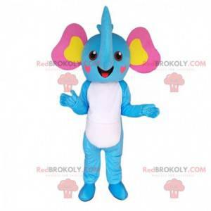 Modrý, bílý, žlutý a růžový maskot slona, kostým slona -