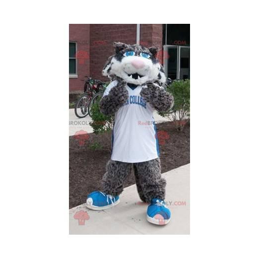Black and white gray cat mascot - Redbrokoly.com