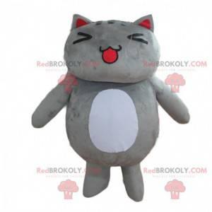 Maskot velká šedá a bílá kočka, velmi roztomilý a baculatý -