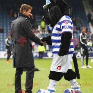 Black cat mascot in blue and white outfit - Redbrokoly.com