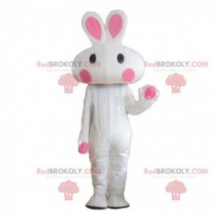 W pełni konfigurowalna biało-różowa maskotka królika -