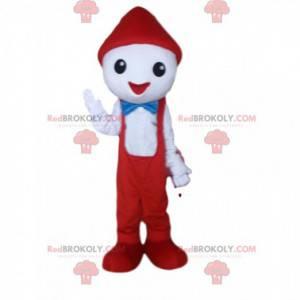 Mascote de personagem branco com macacão vermelho -