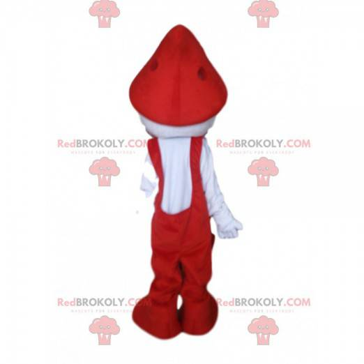 White character mascot with red overalls - Redbrokoly.com