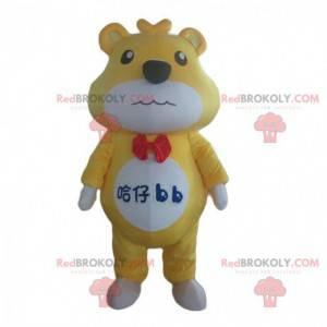 Gelbes und weißes Teddybärmaskottchen, Teddybärkostüm -