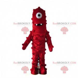 Maskot červené monstrum, červený mimozemský kostým -