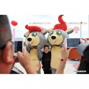 2 mascotes de camundongo castor cinza e amarelo - Redbrokoly.com
