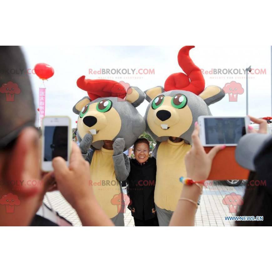 2 maskoti šedé a žluté bobří myši - Redbrokoly.com