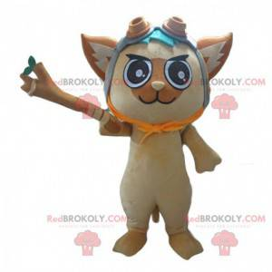 Maskot kočka s pilotní přilbou a větví - Redbrokoly.com