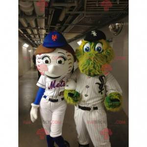 2 mascottes: een honkbal en een krokodil - Redbrokoly.com