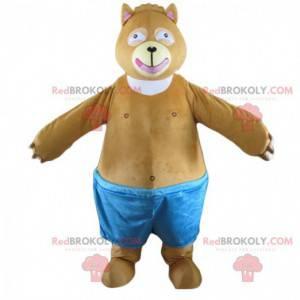 Baculatý a roztomilý maskot hnědého medvěda, kostým sumo -