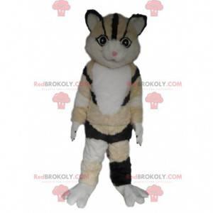 Maskot tříbarevná kočka, béžová, bílá a černá kočka kostým -