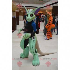 Mascote de dinossauro criatura verde - Redbrokoly.com