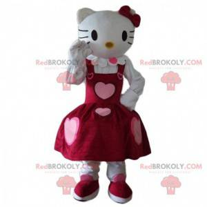 Maskot Hello Kitty oblečený v krásných šatech se srdíčky -