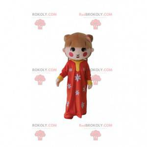 Asian girl mascot, traditional girl costume - Redbrokoly.com