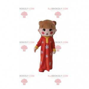 Azjatycka maskotka dziewczyna, tradycyjny strój dziewczyny -