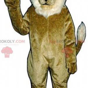 Hnědý a bílý lev maskot - Redbrokoly.com