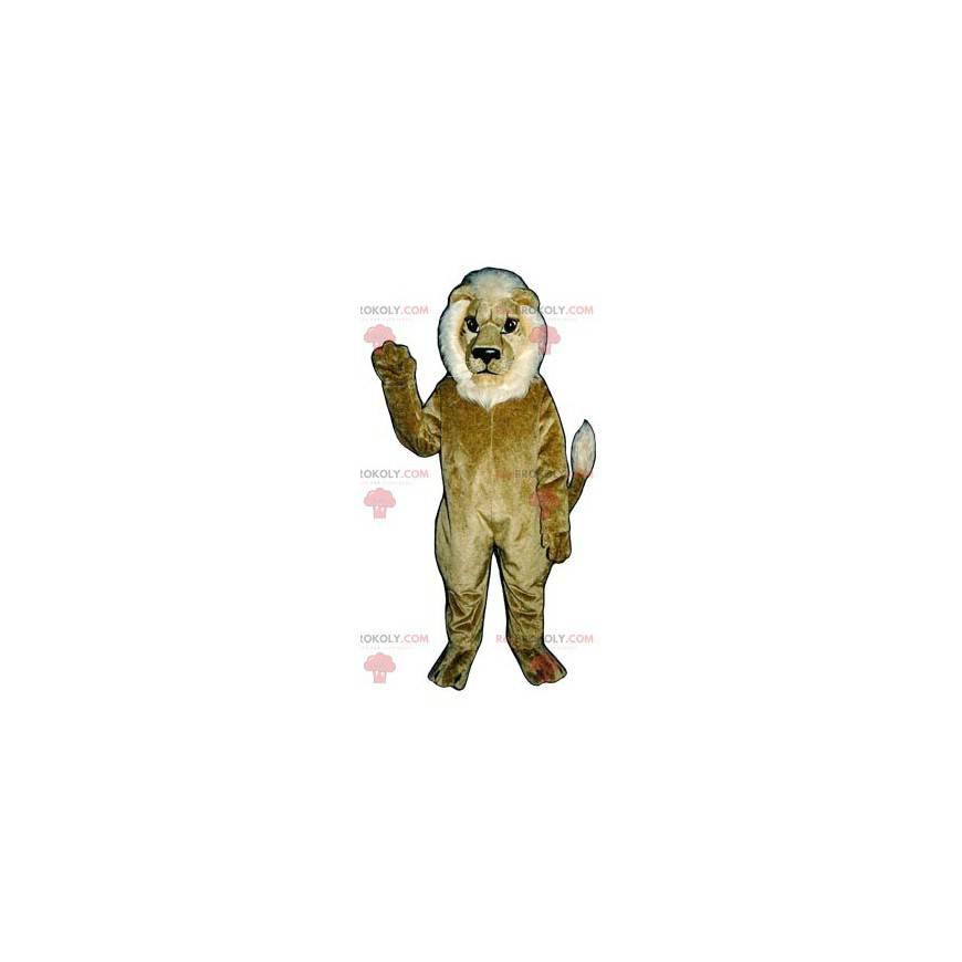 Brun og hvit løve maskot - Redbrokoly.com